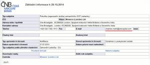 Oprávnění ETX Capital od České národní banky