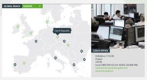 Mapa ETX Capital v ČR a v Evropě