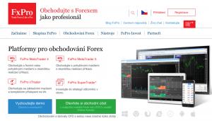 Náhled úvodní stránky FxPro