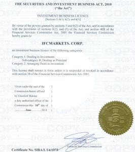 Licence od FSC BVI pro IFC Markets
