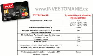 IronFX platební karta