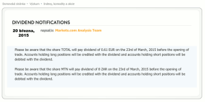 Oznámení výplaty dividendy akcií Total a MTN 23. března 2015