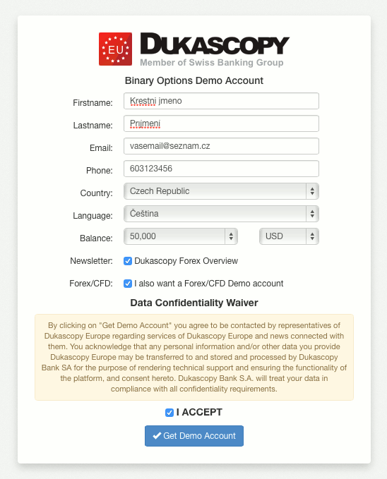 Dukascopy založení demo účtu binárních opcí
